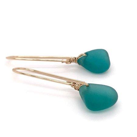 Teal Seaglass Earrings Long - Gold - Kriket Broadhurst