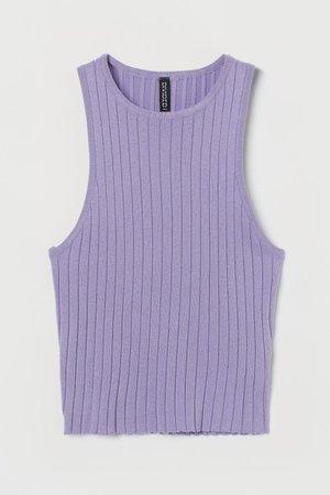 Crop Tank ribbed Top - Light purple - Ladies   H&M US