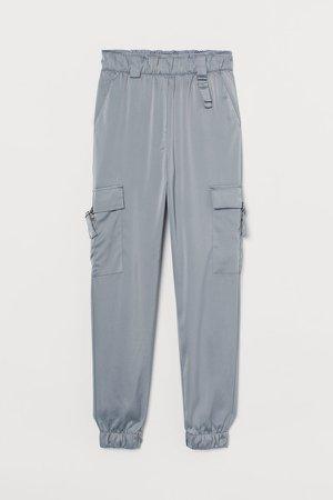 Satin Utility Pants - Gray