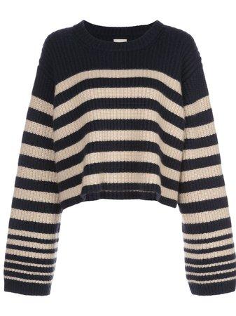 Khaite Dotty Striped Relaxed-Fit Jumper 8312600 Blue   Farfetch