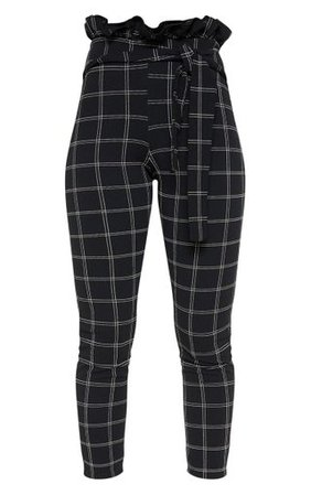 Black Tweed Check Paperbag Skinny Trousers | PrettyLittleThing