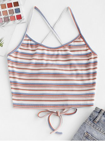 [27% OFF] [HOT] 2020 Striped Lace-up Ribbed Crop Cami Top In LIGHT BLUE | ZAFUL