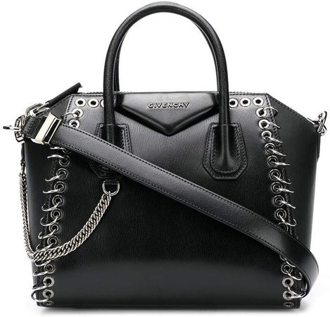 black Antigona eyelet leather tote