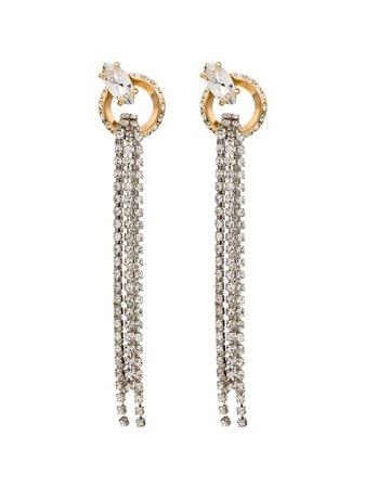 MIU MIU two-tone embellished drop earrings