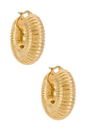 Ellie Vail Coria Textured Hoop Earring in Gold | REVOLVE