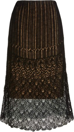 Vince Lace-Trimmed Knit Midi Skirt