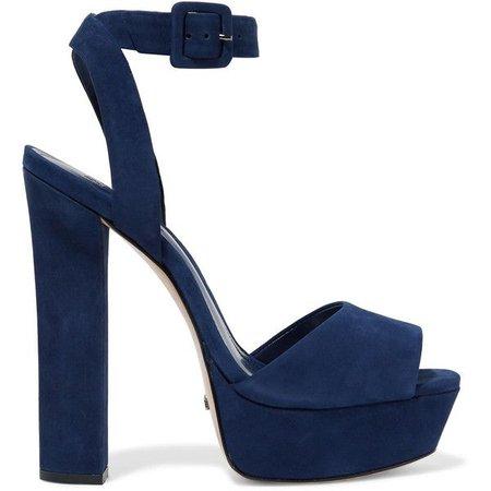 Navy Blue Suede Sandal Heels
