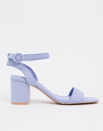 Pull&Bear kitten heel sandals in blue | ASOS