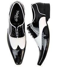 MADCAP ENGLAND RETRO MOD MENS 50s BLACK/WHITE SHOES BROGUES Winklepickers