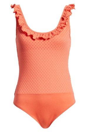 MINKPINK Holly Frill Pointelle Bodysuit | Nordstrom