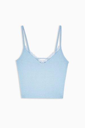 Blue Pretty Lace Trim Cami   Topshop