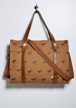 Camp Director Zipped Tote in Tan Dinosaurs | ModCloth