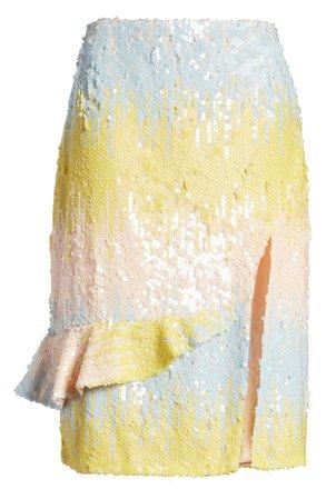 Endless Rose Colorblock Side Slit Sequin Skirt | Nordstrom