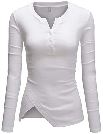 TheLees Womens Fitted Tee Henley V-neck Long Sleeve Daily Tshirts