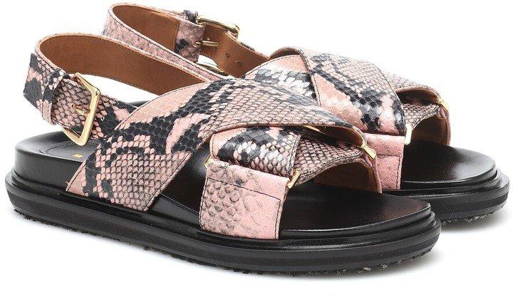 Fussbett snake-effect leather sandals