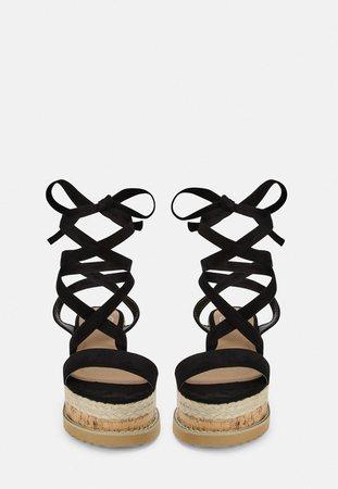 Black Faux Suede Lace Up Flatform Sandals   Missguided