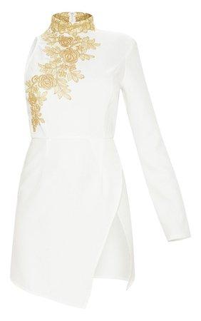 WHITE ASYMMETRIC SLEEVE EMBROIDERED BODYCON DRESS