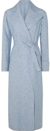 The Belinda Pinstriped Linen Coat - Light blue