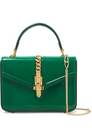 Gucci | Sylvie 1969 mini chain-embellished patent-leather tote | NET-A-PORTER.COM