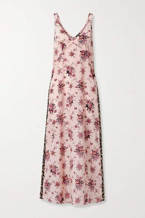Printed Silk Midi Dress - Pink