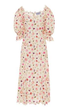 Floral-Print Cotton-Lace Midi Dress by Luisa Beccaria | Moda Operandi