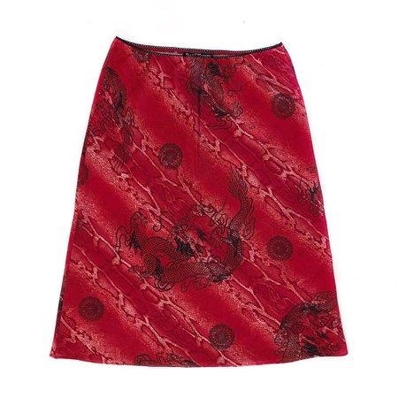 90s Y2k Vintage Red Snake Chinese Dragon Rave Stretch Goth Midi Skirt Medium | Nothing On TV