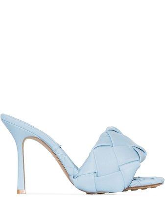 Shop blue Bottega Veneta BV Lido Intrecciato 95mm sandals with Express Delivery - Farfetch