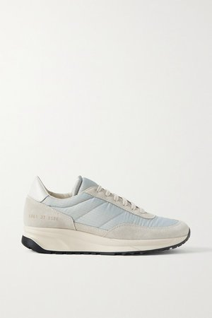 Track Classic Leather-trimmed Suede And Ripstop Sneakers - Light gray