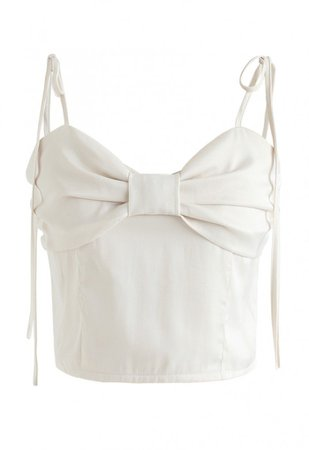 Shirred Sweet Knot Cropped Cami Top in Ivory - NEW ARRIVALS - Retro, Indie and Unique Fashion
