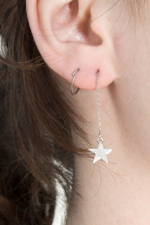 Silver Lightning Bolt Star Drop Earrings - Earrings - Jewelry - Accessories
