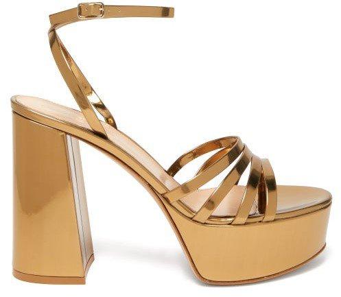 Angelica 70 Leather Platform Sandals - Gold