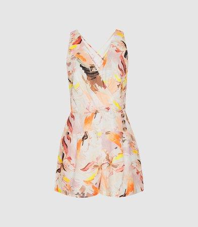 Floripa Multi Floral-Print Linen Playsuit – REISS