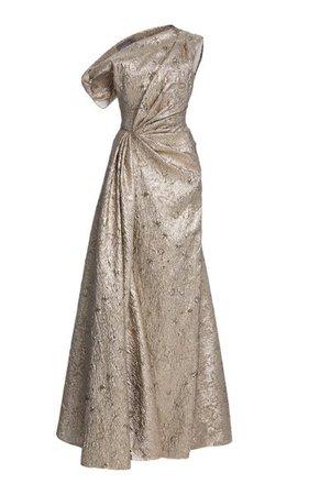 Asymmetric Metallic Jacquard Gown By Lela Rose