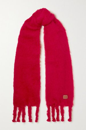 Loewe | Leather-trimmed fringed mohair-blend scarf | NET-A-PORTER.COM