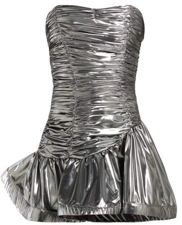 Strapless Lame Ruched Dress - Womens - Silver