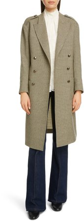Double Breasted Houndstooth Wool Coat