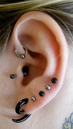 Mixed Lobe & Upper Ear Piercings with black & Steel body jewellery. With… | Piercings | Ear piercings, Piercings, Cute piercings