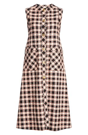 Gucci Check Wool Tweed Midi Dress | Nordstrom