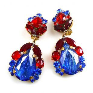 Iris Earrings Clips-on ~ Silver Blue Red : LILIEN CZECH, authentic Czech rhinestone jewelry