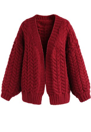 Nice to Knit You Chunky Cardigan in Red - NEW ARRIVALS - Retro, Indie and Unique Fashion