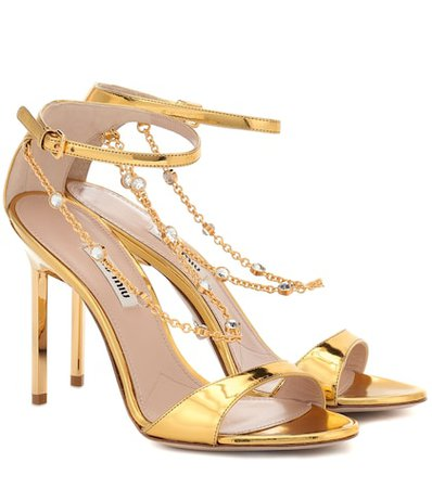 Crystal-trimmed leather sandals