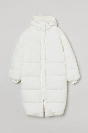 Hooded Puffer Jacket - White - Ladies | H&M US