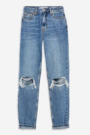 Mid Blue Double Knee Ripped Mom Jeans | Topshop