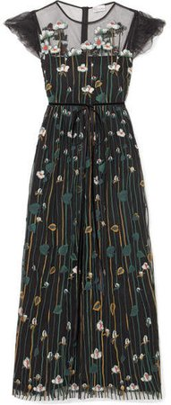 Floral-embroidered Tulle Midi Dress - Black