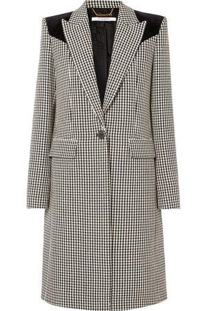 Givenchy | Velvet-paneled houndstooth wool coat | NET-A-PORTER.COM