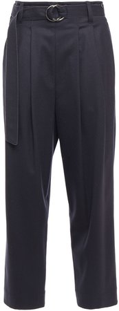 Belted Pleated Wool-blend Twill Tapered Pants