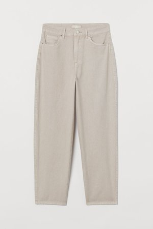 Ankle-length twill trousers - Light beige - Ladies   H&M