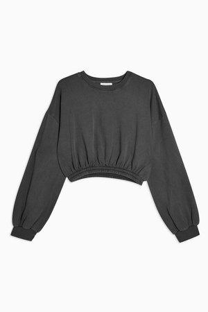 Charcoal Grey Elastic Crop Sweatshirt | Topshop