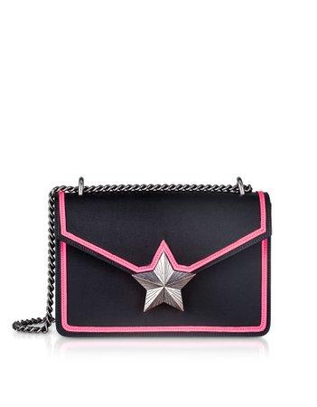 Les Jeunes Etoiles Black & Neon Pink Leather New Vega Trim Shoulder Bag