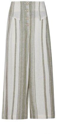 Khaki Stripe Print Button Linen Blend Culotte Trousers